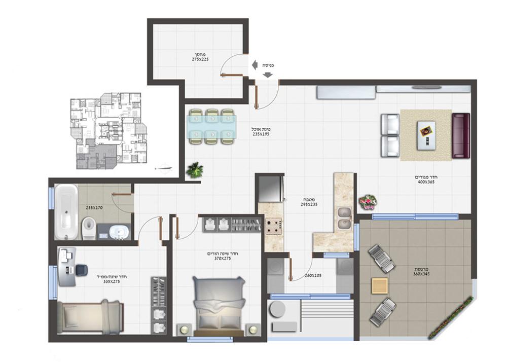 3 חדרים